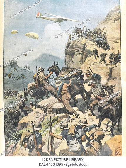 Italo-Ethiopian War (1935-1936) - War in Eritrea. Illustration by Achille Beltrami (1871-1945) from La Domenica del Corriere