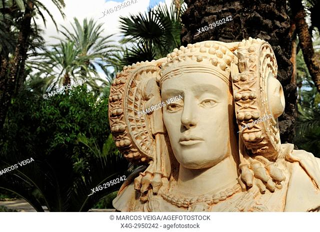 A copy of the Lady of Elche bust. Huerto del Cura, Elche, Alicante, Spain