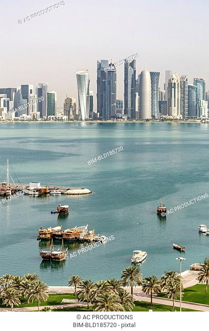 Aerial view of boats floating in Doha harbor, Doha, Qatar