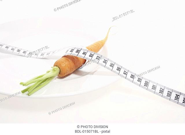 carrot on plate with tape measure
