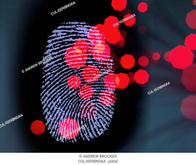 Data infecting a finger print identity on a screen to illustrate hacking and cyber crime