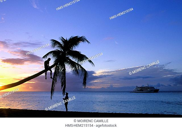 France, Guadeloupe, Saint Martin island French West Indies, cruise ship off