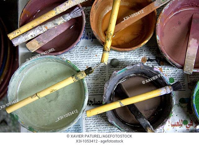 View of paintbrushes used by painters to decorate the potteries