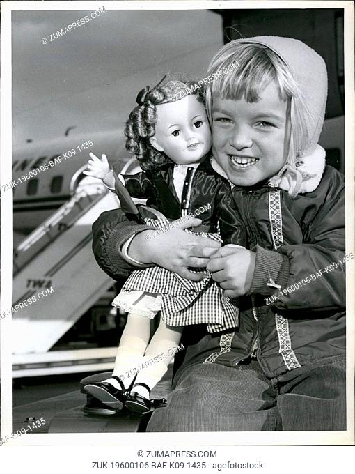 1968 - Cuddlesome Judy O'Grady, 3, seen here embracing a doll almost as pretty as she, was one of the First passengers to board a trans world Airlines flight...