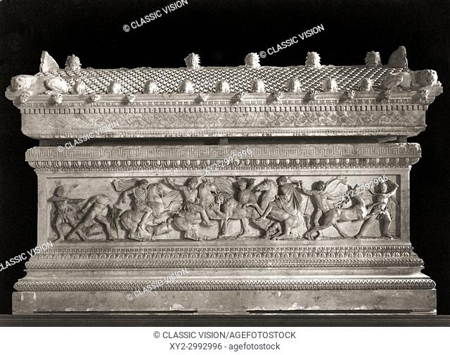 The Alexander Sarcophagus which dates from the 4th century BC. The sarcophagus, which which was discovered in Sidon, Lebanon, is made from Pentelic marble