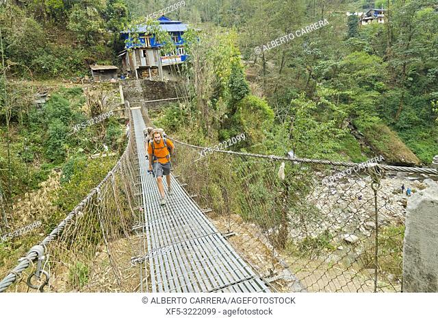 Hikkers on Route, Suspension Footbridge, Trek to Annapurna Base Camp, Annapurna Conservation Area, Himalaya, Nepal, Asia