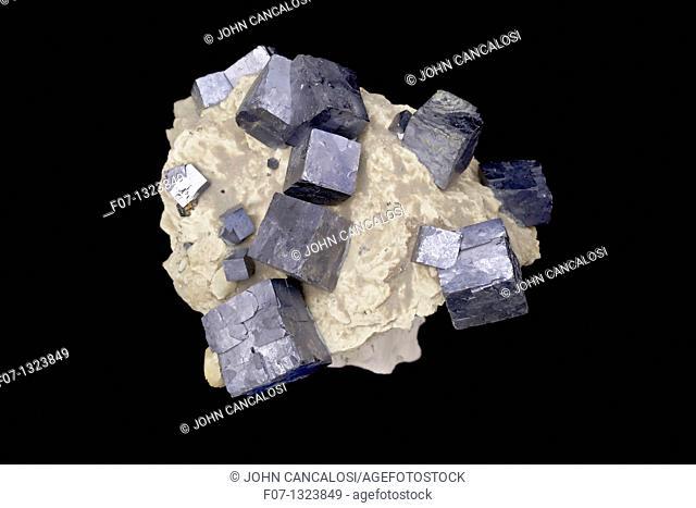 Galena PbS - lead sulfide - Tri State District - Joplin Missouri - USA - The primary ore of lead -