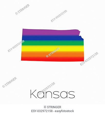 An LGBT Flag inside the State of Kansas