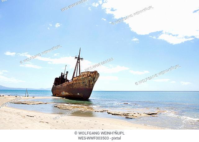 Greece, Gythio, ship wreck at beach