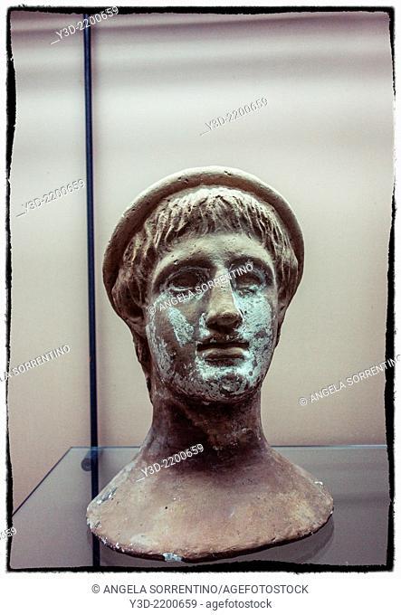 Ancient head statue in Capua museum, Italy
