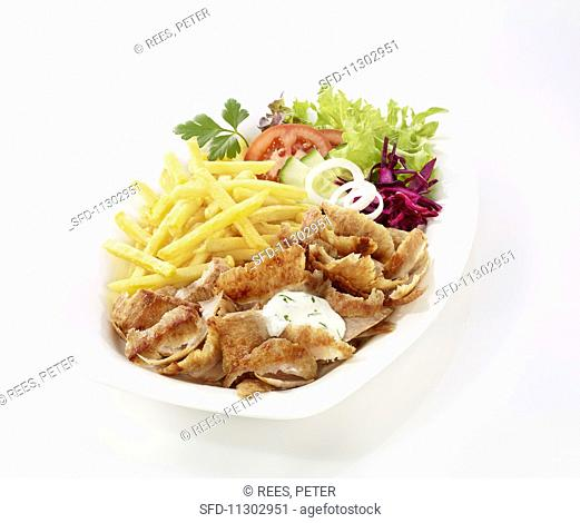 Donner with fries and salad