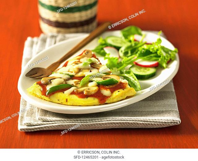 Pizza frittata with salad