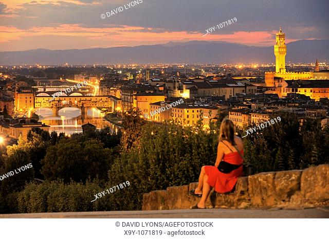Florence, Tuscany, Italy  Classic view of the Ponte Vecchio and the River Arno from the Piazzale Michelangelo  Summer evening