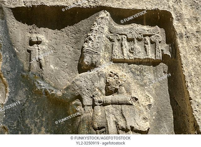 Sculpture of god Sharruma and King Tudhaliya from the 13th century BC Hittite religious rock carvings of Yazilikaya Hittite rock sanctuary, chamber B, Hattusa