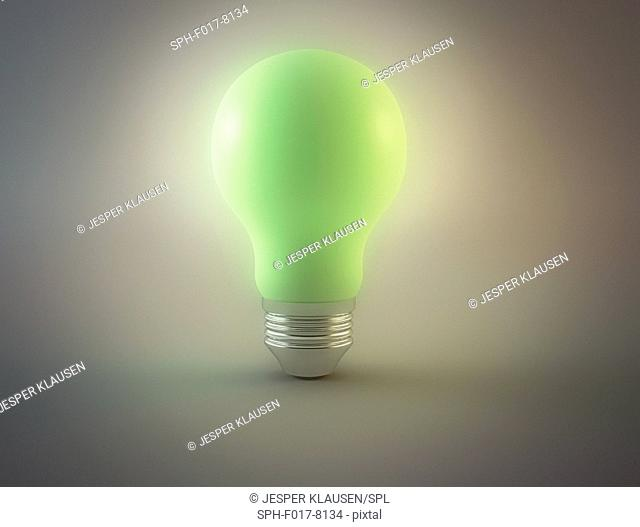 Green light bulb, illustration