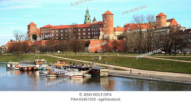 The Wawel is the former residence of the Polish kings in Krakow with castle located on a hill overlooking the Vistula River in Krakow, Poland, 30 January 2016