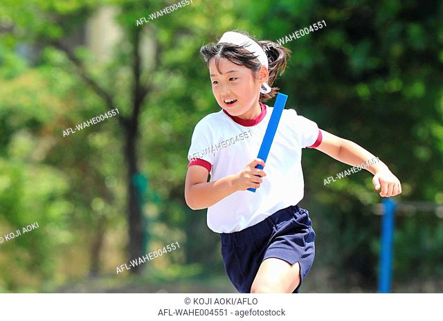 Japanese kid during school sports day