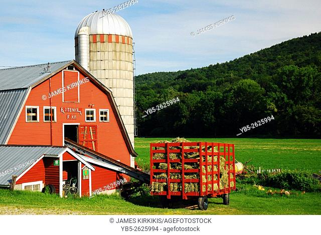A red barn contrasted against the green hills of Southern Vermont