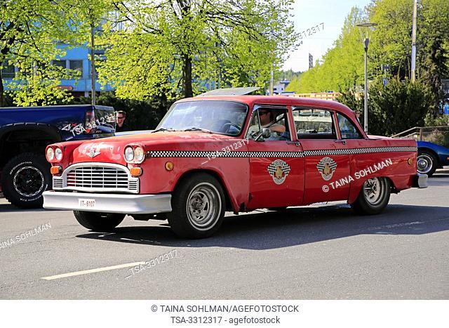 Salo, Finland. May 18, 2019. Red Checker Model A Taxi takes part in Salon Maisema Cruising 2019. Salo, Finland. May 18, 2019