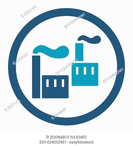 Industry flat cyan and blue colors rounded glyph icon