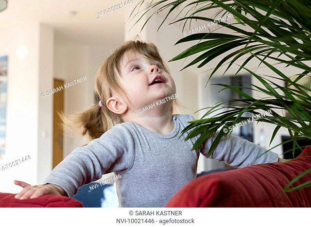 Little girl playing with a houseplant