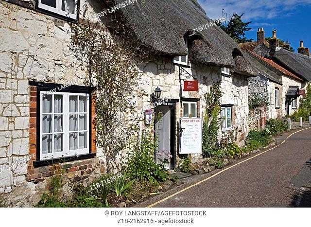 A street in the village of Brighstone on the Isle of Wight in England