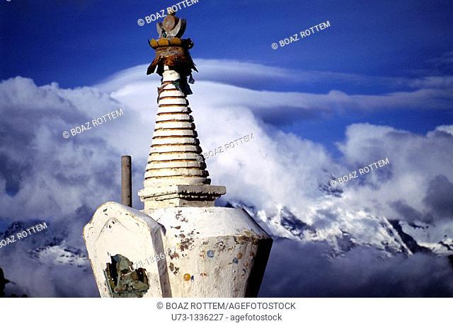 Tibetan stupas overlooking the Meili mountain rang in Yunnan, China