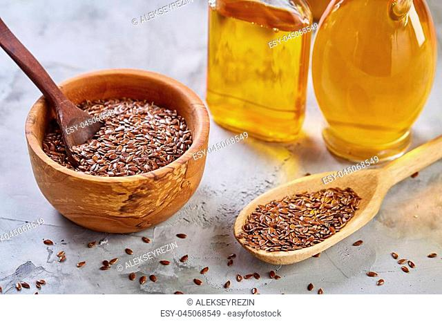 Flax Seeds And Linseed Oil Stock Photos And Images Age Fotostock