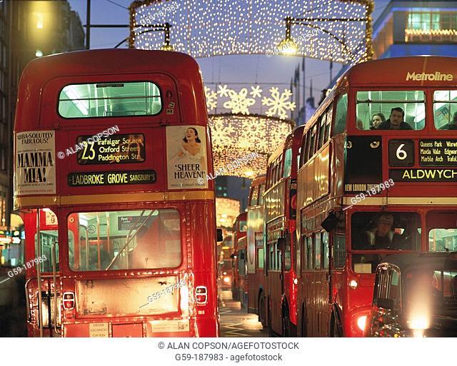 Christmas lights. Regent Street. London. England
