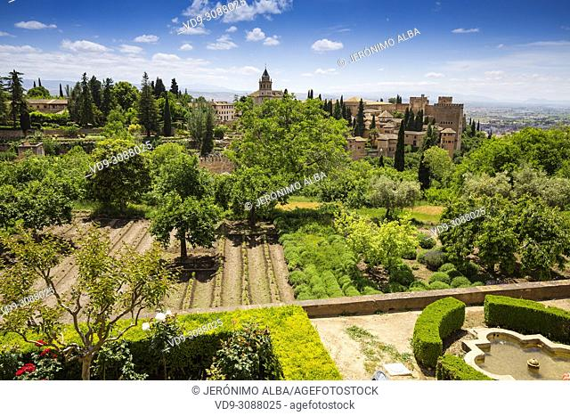 Gardens and panoramic view. Alhambra, UNESCO World Heritage Site. Granada City. Andalusia, Southern Spain Europe