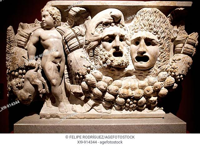 Garland sarcophagus with masks, marble, 2nd century AD, Pergamon Museum, Berlin, Germany