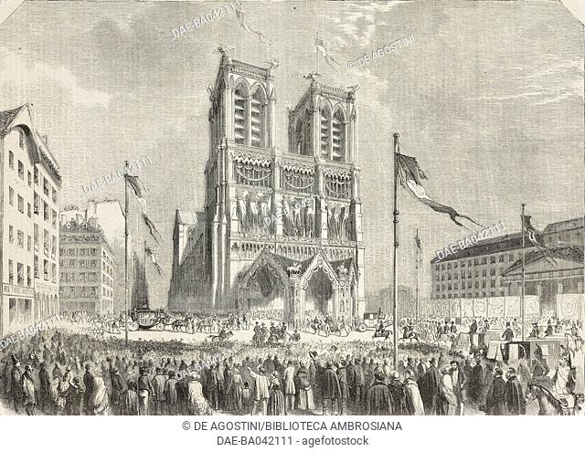 Napoleon III and Eugenia de Montijo's wedding, the wedding procession arriving at Notre-Dame, January 30, 1853, Paris, France, illustration from L'Illustration