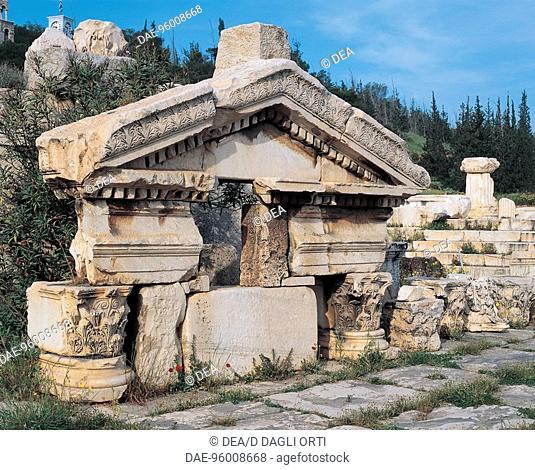 Greece - Attica - Eleusis. Sanctuary of Demeter. Fragments of pediment (4th-1st century b.C.)