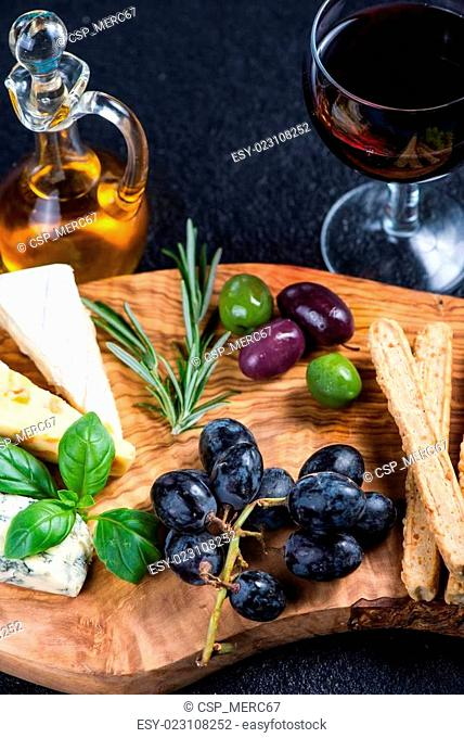 Rustic board with cheese selection,tapas style appetizer