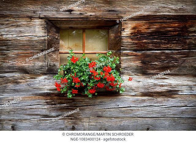 Decorated with flowers traditional wooden house
