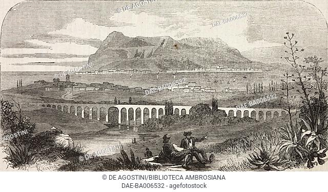 View of Algeciras and Gibraltar, illustration from the magazine The Illustrated London News, volume XXXIV, December 3, 1859