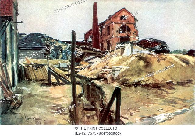 'Factory buildings, Soissons', 19 May 1915, (1926). Buildings damaged by shellfire in World War I
