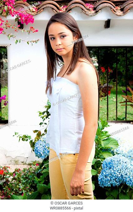 Girl in a Garde Hydrangeas
