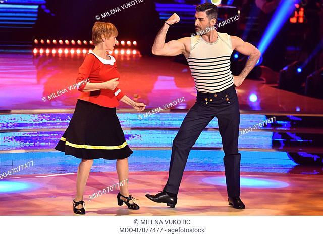 The Italian actress Milena Vukotic with her dance master Simone Di Pasquale during the fourth episode of the show Ballando Con Le Stelle auditorium Rai Foro...