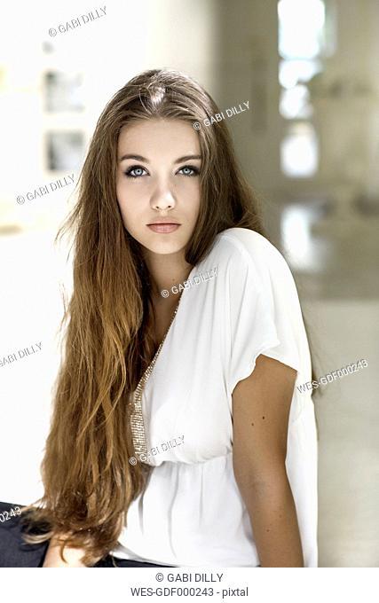 Portrait of serious looking teenage girl
