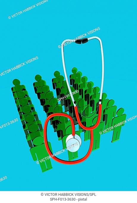 Green human figures and stethoscope, illustration