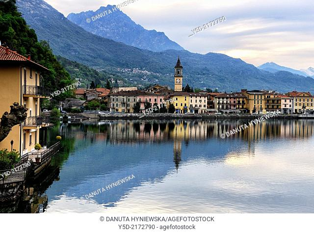 early morning in Porlezza town on Lake Lugano at sunset, Province of Como, Lombardy, Italy