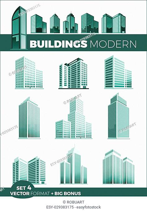 Skyscraper logo building icon set. Black building and isolated skyscraper, tower and office city architecture, house business building logo