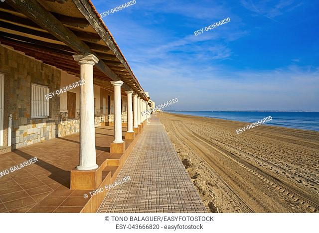 Guardamar del Segura beach houses in Alicante of Spain at Costa Blanca