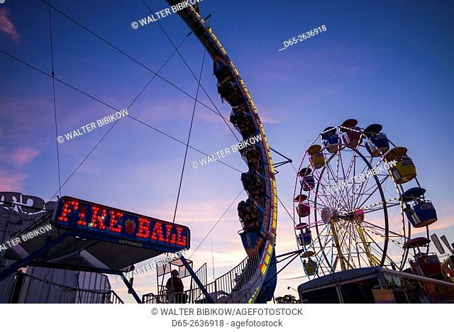 USA, Massachusetts, Cape Ann, Gloucester, annual Saint Peter's Fiesta, carnival rides