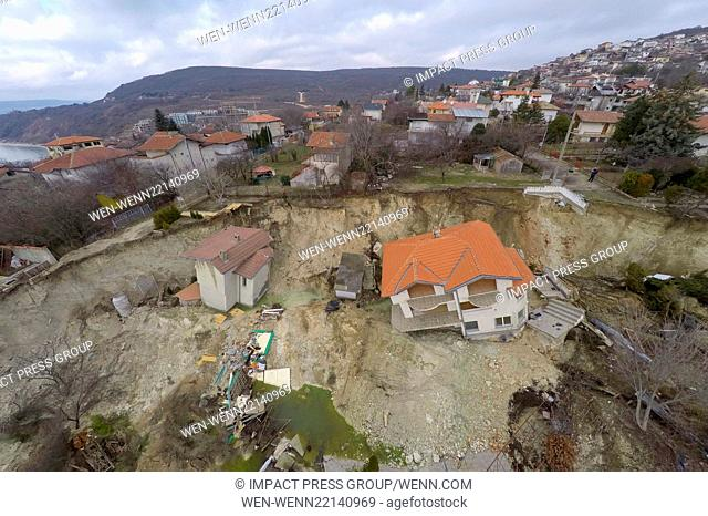 An aerial view picture shows destroyed homes caused by a landslide in the town of Balchik, north-east of the Bulgarian capital Sofia Featuring: Atmosphere...