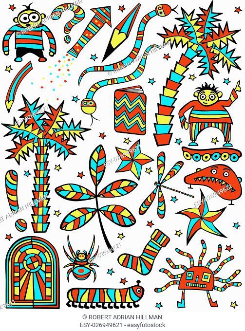Set of colorful editable vector cartoon design elements