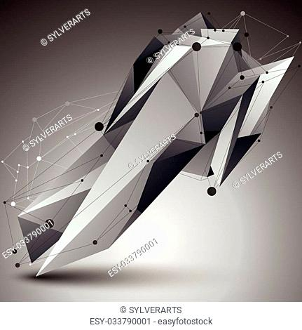 3D vector abstract technology illustration, perspective geometric unusual object with wireframe. Origami shape