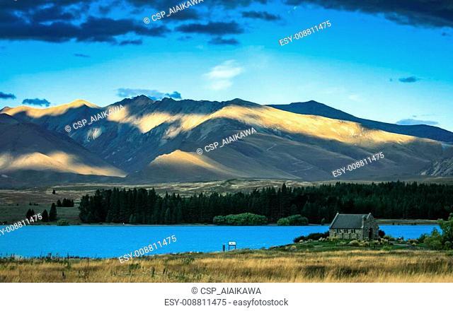 Church of the good shepard with beautiful mountain background, Lake Tekapo, New zealand
