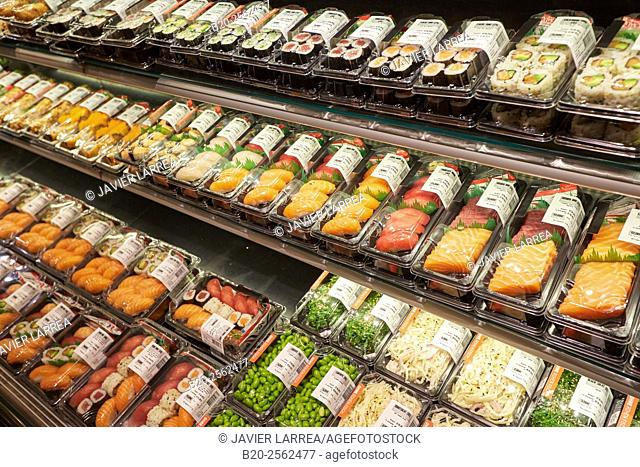 Sushi food, Interior of the Galerie Lafayette store, Berlin, Germany
